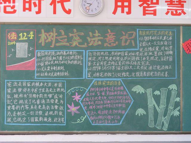 学校学宪法宣传板报 - 我家的国庆手抄报