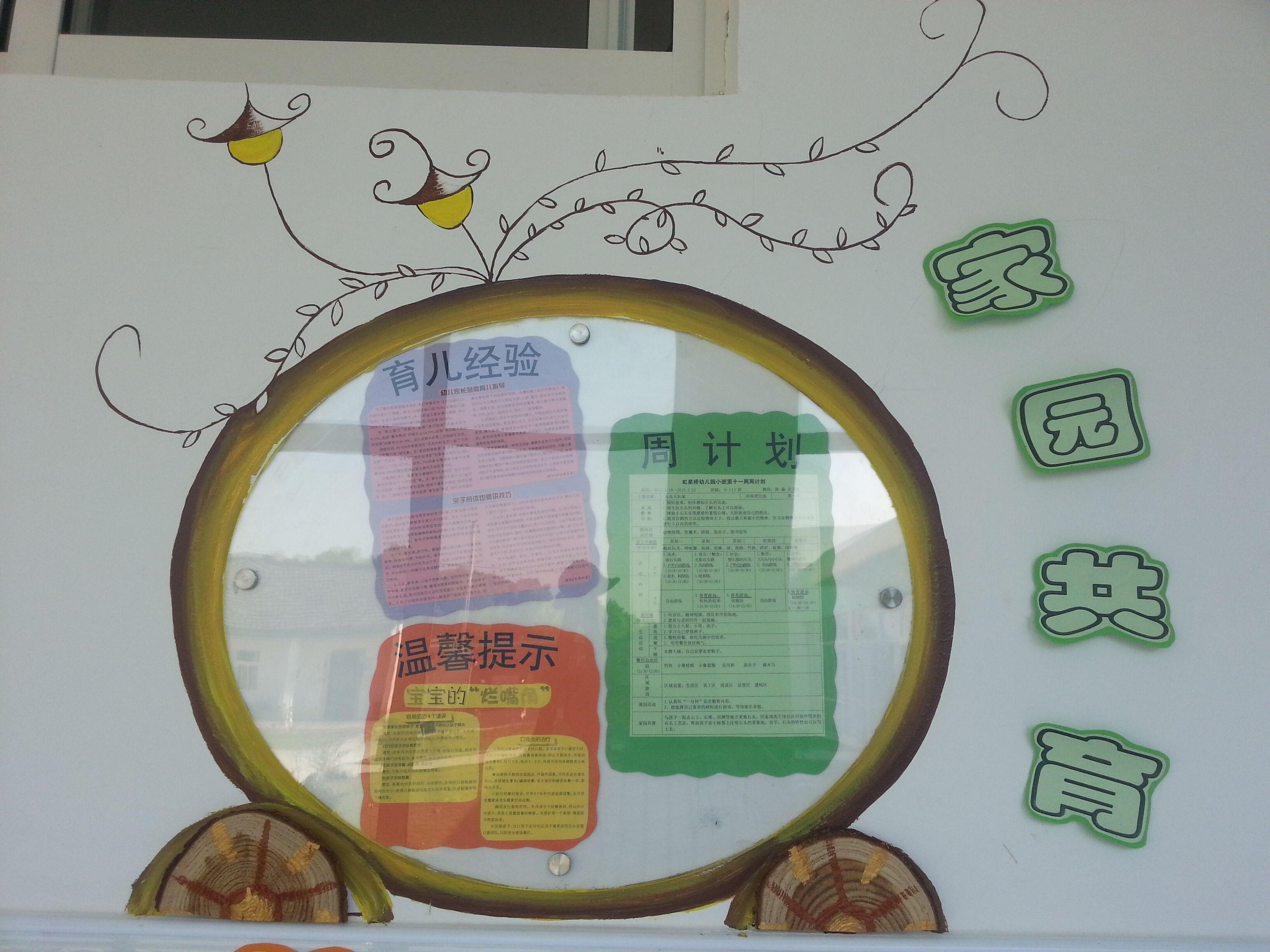 """各班老师都将家园联系栏分为好几个版块:""""周计划""""让家长了解幼儿园的"""